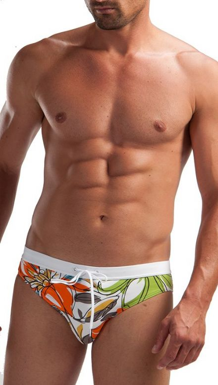 Geronimo Mens Floral White Swimwear Brief Trunks Flowered 1215s2